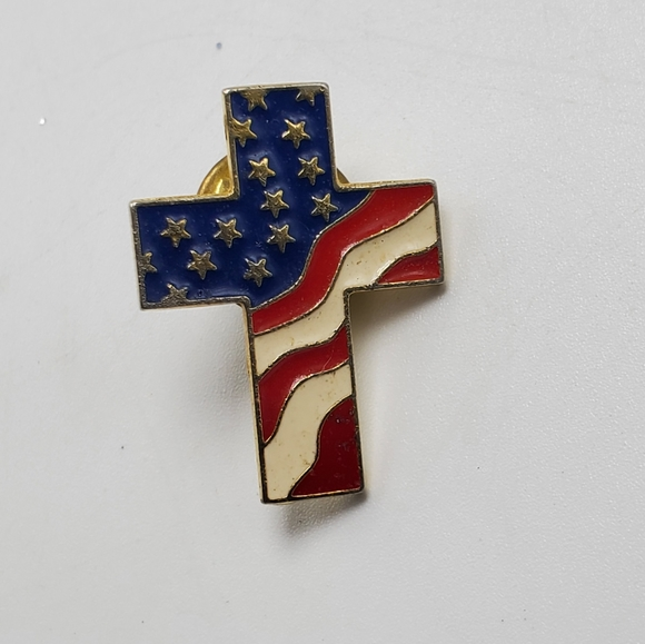 White and Blue Lapel pin Cloisonné American Flag Cross USA Red